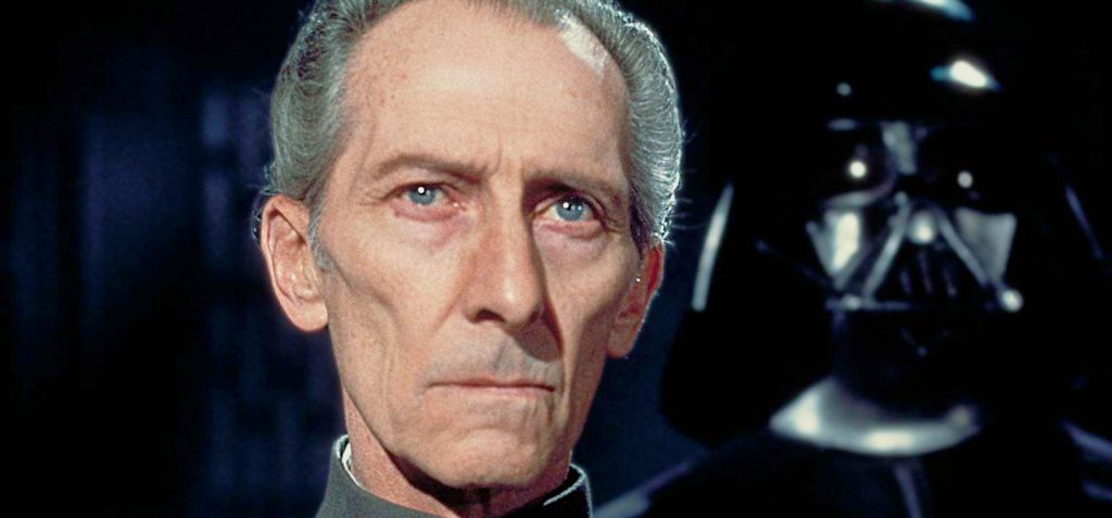 grand moff Tarkin - and Darth Vader behind him. No darksaber here, but enough darkness anyway.