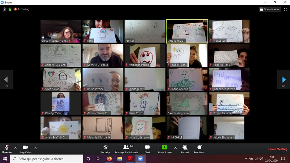 online youth work : drawing and then sharing on zoom.