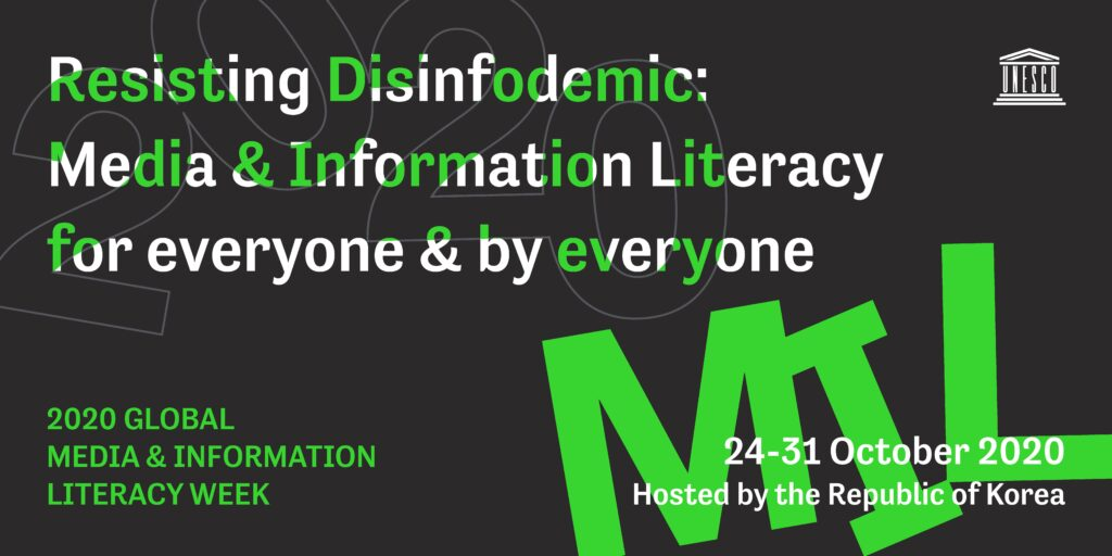 media literacy  UNESCO 2020 global media and information week promotional poster
